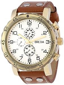 Breda Men's 1635-G Steve Oversized Industrial Stud Leather Watch