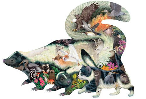 Cheap SunsOut Dennis Rogers Mistaken Identity Skunk Shaped Jigsaw Puzzle 1000pc (B000PCIL5E)