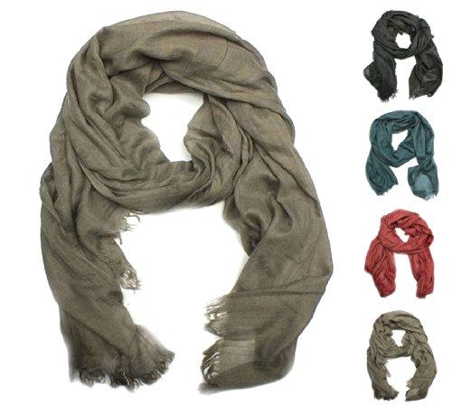 Herren Long-Schal, TU041, uni, XXL, 4 Farben: rot, hellbraun, petrol blau oder schwarz, Farbe:braun