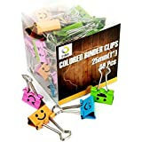 CBC Smiling Binder Clips ,1-inch Wide ,2/5 Inch Capacity, Assorted Colors ,48 Clips Per Pack,medium Size