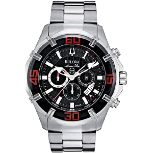 Stainless Steel Marine Star Chronograph Black Dial Red Accents