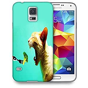Snoogg Cat Eating Broklyn Printed Protective Phone Back Case Cover For Samsung S5 / S IIIII