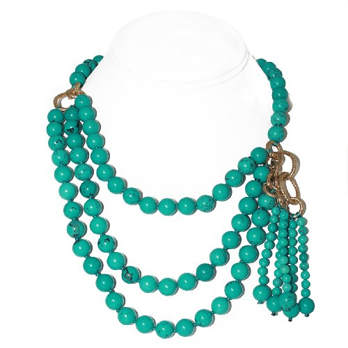 Multi-layer Round Turquoise Bead Necklace (10mm) [Jewelry]
