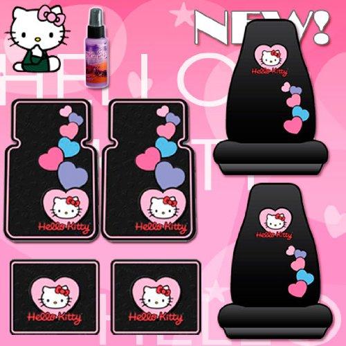 New 7Pcs Hello Kitty Car Seat Covers, Rubber Floor Mats Set