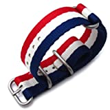 MiLTAT 24mm 3 Rings Zulu JB military watch strap ballistic nylon armband – French Flag & Brushed Hardware