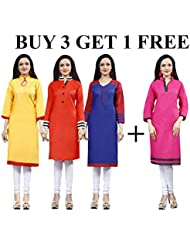 Applecreation Kurti Combo Offers Buy 3 Get 1 Free Kurtis For Women & Girls Low Price Offer Sale New Collections...
