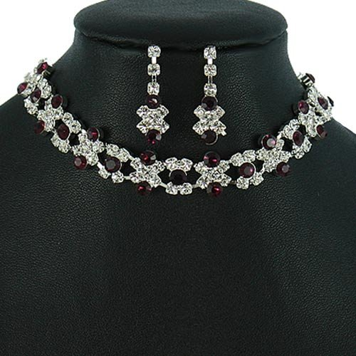 Silver and Dark Purple Crystal Rhinestone Choker Necklace Set