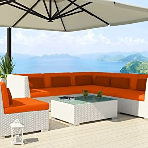 Uduka outdoor sectional patio furniture white wicker sofa for Outdoor patio furniture deals