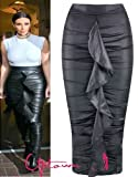 NEW WOMENS LADIES CELEB KIM KARDASHIAN FRILL WET LOOK PENCIL TUBE DRESS SKIRT