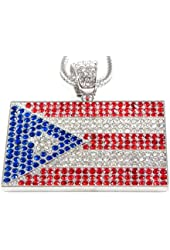"""Fully Iced Out Silver Puerto Rico Flag Pendant & 36"""" Franco Necklace"""