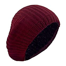 Cranberry Classic Double Layer Slouch Beret, Vintage Chunky Knit Winter Beanie