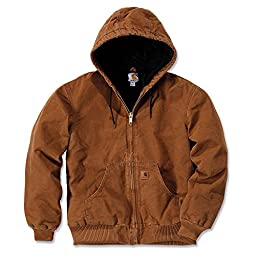 Carhartt Men\'s Quilted Flannel Lined Sandstone Active Jacket J130,Carhartt Brown,Medium