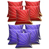 Bloom Rays Cushion Covers Combo Blue & Red 40 X 40 Cms(10 Pcs Set)