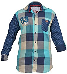 CAY 100% Cotton Green Color Designer Checks Shirt With Printed Full Sleeves (Size:S)