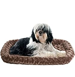 Furhaven Pet Md Plush Bolster, Chocolate, Fits: 21\