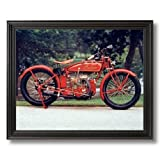 Old Red Vintage Indian Motorcycle Home Decor Wall Picture Black Framed Art Print