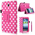 CellDeal Polka Dots Cover Case Stand for Samsung Galaxy Tab 3 P3200 P3210 7 Inch + Pink