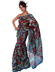 Exotic India Burgundy Printed Sari From Bangalore With Threadwork And - Burgundy