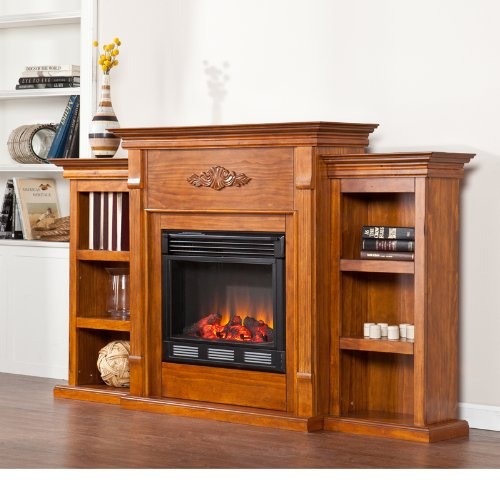 Electric Fireplace with Open Bookcase , Glazed Pine image B009Z3RI3A.jpg