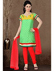 Utsav Fashion Women's Light Green Cotton Chanderi Readymade Churidar Kameez-XXX-Large