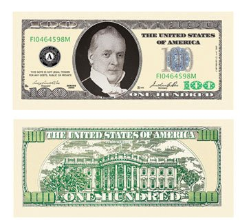 $100.00 Casino Party Money - Set of 25 - 1