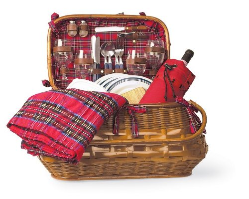 Highlander Rattan & Bamboo Picnic Basket for 4