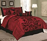 Bednlinens 11 Piece Queen Maroon Nobility Medallion Comforter Set with Matching Curtain