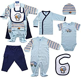 Hudson Baby 6-Piece Construction Zone Layette Set - Blue, Newborn