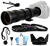 Opteka 420-800mm f 8.3 HD Telephoto Zoom Lens Bundle Package includes 3 Piece UV-CPL-FL Filters + Tulip Hood + Cap Keeper + Lens Cleaning Kit for Canon EOS 5D Mark II III 2 3 5DM2 5DM3 - 1D Mark 3 4 III IV 1Dx 1D X - Rebel SL1 - T2i - T3 - T3i - T4i - T5 - T5i - 6D - 7D - 60D - 60Da - 70D - 100D - 550D - 600D - 650D - 700D - 1100D - 1200D - Kiss X4 - X5 - X6i - X7i - X50 - X70 DSLR SLR Digital Camera