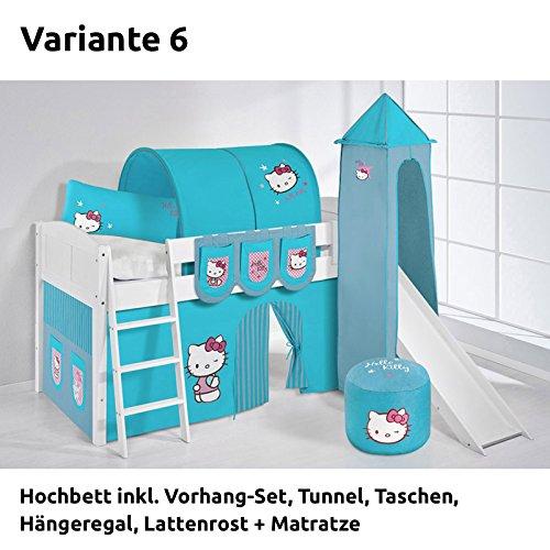 Hochbett Spielbett IDA Hello Kitty Türkis, mit Turm, Rutsche und Vorhang, weiß, Variante 6 jetzt kaufen