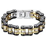 Aoiy - Bracelet Homme - Acier Inoxydable - chaîne de bicyclette - couleur noir et or - grand et lourd - Biker Bracelet 22.3cm, ccb021...
