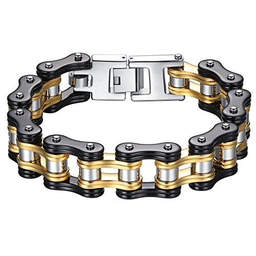 Aoiy Bracciale, Uomo, Acciaio Inossidabile, catena della bicicletta, il nero e il colore oro, grandi e pesanti, braccialetto motociclista 22.3cm, ccb021