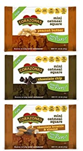 Corazonas Heartbar Mini Oatmeal Square, Chocolate and Nuts Variety Pack, 0.89 Ounce (Pack of 30)