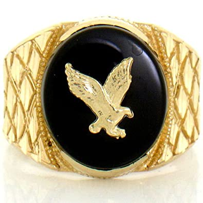 9ct Solid Yellow Gold Onyx Eagle Mens Nugget Ring