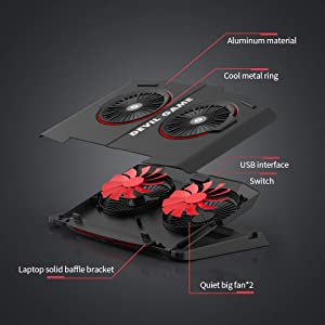 Laptop Cooling Pad, with Two Big Quiet Fans, Compatible for 14-20 inch Laptops (Color: laptop cooling pad)