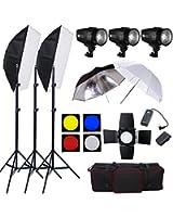 540W professionnel Kit Flash softbox complet Kit d'éclairage Photo Studio --180W Têtes de Flash*3 pour photographique, Softbo x 50×70cm, nid d'abeille, parapluie reflecteur, Soft Blanc Parapluie, accessoires avec sac de transport oxford