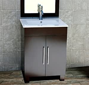 Solid Wood 24 Bathroom Vanity Cabinet Cms Ct Ceramic Top Integrated Sink Faucet Drain