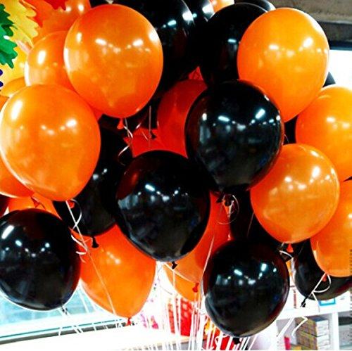 ハロウィン 飾り風船 黒 オレンジ セット (2:黒20個、オレンジ20個)
