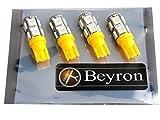 《Beyron》ベイロンLED【T10 SMD5050 9連 12V 黄】×4個 (高輝度オリジナルLED Beyron製帯電防止袋密封式パッケージ)(イエロー・アンバー・オレンジ)《014》