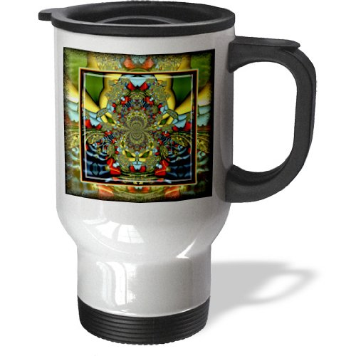 Tm_24841_1 Mimulux Psychedellic Art - Psychedellica 2 Hippie Flowerpower Retro Fractal Psychedellic Red Yellow Blue Retro Oriental India - Travel Mug - 14Oz Stainless Steel Travel Mug