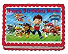 Paw Patrol Ready For Action! 1/4 Sheet Edible Photo Birthday Cake Topper. ~ Personalized!