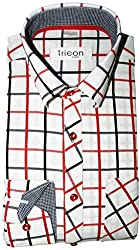 Tricon Men's Slim Fit Cotton Checkerd Shirt (SS104_Red_X-Large)