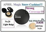 From USA + April Skin Magic Snow Cushion No.21 Light Beige 15g (No Refill)