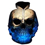 SINMA Unisex Fashion Hoodie Skull 3D Print Long Sleeve Pocket Pullover Women Men Sweatshirt (L, Blue)