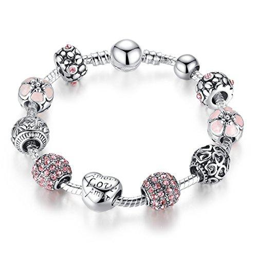 Wowl braccialetto del braccialetto di fascino con Amore Amore Amore e del regalo di compleanno Red cubico zircone per le ragazze adolescenti