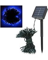 Andoer Guirlande 100 LED solaire pour Noël, fête, décoration du jardin, mariage Bleu 17 m