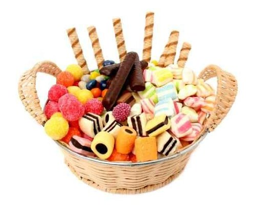 Basket  Various Sweets and the Cookies, Isolated