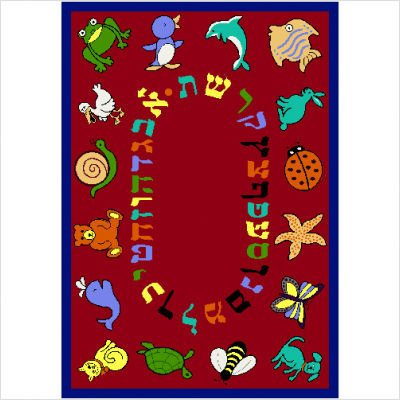 "Joy Carpets Kid Essentials Early Childhood Hebrew Alphabet ABC Animals Rug, Red, 7'8"" x 10'9"""
