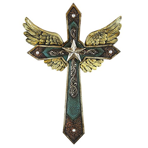 Majestic Western Leather Look Wall Cross with Bronze Star Center and Spectacular Golden Angel Wings Behind. Embossed Leather and Turquoise Look.