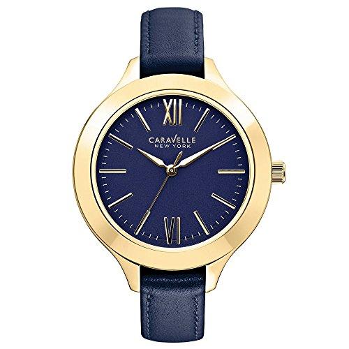 Caravelle New York 44L153 - Reloj Analógico de Cuarzo para Mujer, correa de Cuero color Azul
